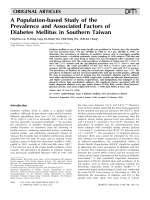 A population-based study of the prevalence and associated factors of diabetes mellitus in southern Taiwan