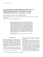 Accumulation and Elimination Kinetics of Herbicides Butachlor  Thiobencarb and Chlomethoxyfen by              Aristichthys nobilis