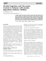 Alcohol Ingestion and Glycaemic Control in Patients with Insulin-dependent Diabetes Mellitus
