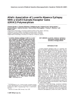 Allelic association of juvenile absence epilepsy with a GluR5 kainate receptor gene (GRIK1) polymorphism