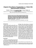 Allogeneic bone marrow transplantation in a patient with hypereosinophilic syndrome