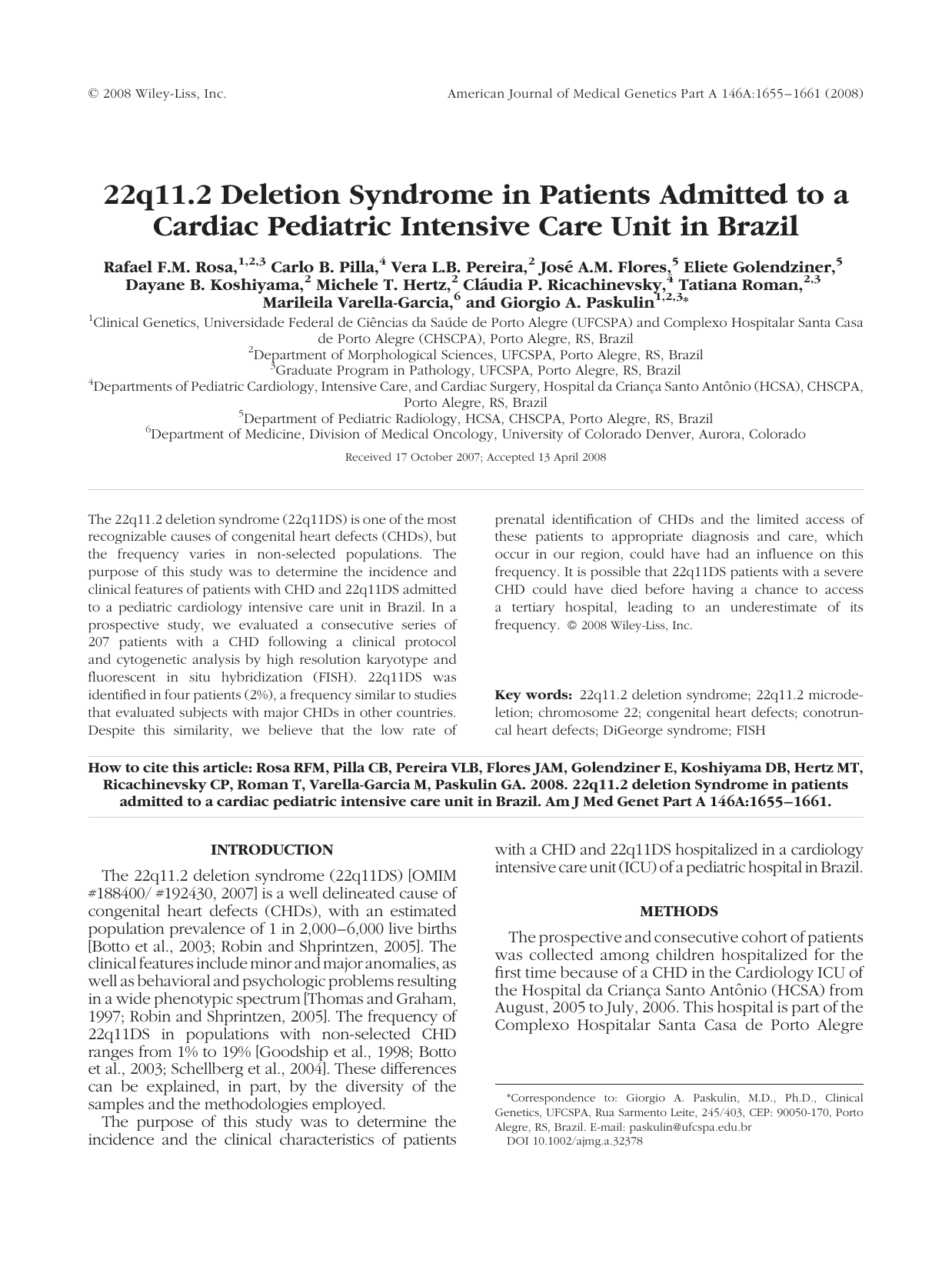 22q11 2 deletion syndrome in patients admitted to a cardiac