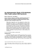 An anthropometric study of 38 individuals with Prader-Labhart-Willi syndrome.