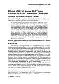 Clinical utility of marrow cell tissue cultures in acute leukemia of childhood.