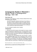 Consanguinity studies in Wisconsin I Secular trends in consanguineous marriage  1843тАУ1981.