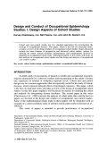 Design and conduct of occupational epidemiology studies I. design aspects of cohort studies