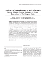Predictors of delayed return to work after back injury A caseтАУcontrol analysis of union carpenters in Washington State.