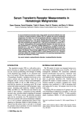 Serum transferrin receptor measurements in hematologic malignancies.