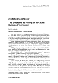 The syndrome as finding or as cause Suggested terminology.