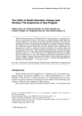 The utility of health education among lead workers The experience of one program.