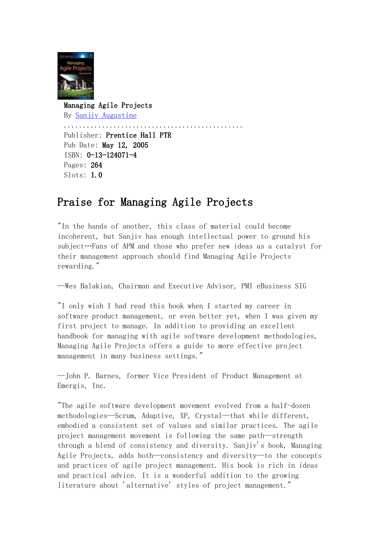 Sanjiv Augustine - Managing Agile Projects (2005 Prentice Hall) pdf