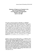 Abstracts of papers to be presented at the Tenth Annual Meeting of the American Society of Primatologists Madison  Wisconsin June 13Ц16  1987.