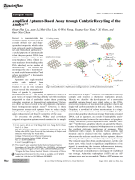 Amplified Aptamer-Based Assay through Catalytic Recycling of the Analyte.