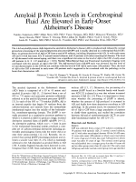 Amyloid  protein levels in cerebrospinal fluid are elevated in early-onset Alzheimer's disease.
