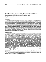 An Alternative Approach to Commutation Relations Associated with Particles of Higher Spin.