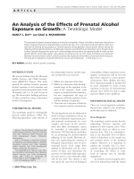 An analysis of the effects of prenatal alcohol exposure on growth  A teratologic model.