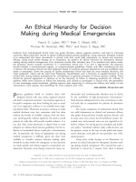 An ethical hierarchy for decision making during medical emergencies.