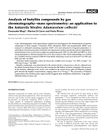 Analysis of butyltin compounds by gas chromatographyЦmass spectrometry  an application to the Antarctic bivalve Adamussium colbecki.