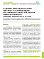 Anefficient MnCl2-catalyzed tandem acylation-cross-coupling reaction of o-halobenzoyl chloride with diorganyl magnesium compounds.