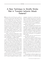 Anew technique to stratify stroke risk in transient ischemic attack patients.