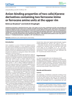 Anion-binding properties of two calix[4]arene derivatives containing two ferrocene imine or ferrocene amine units at the upper rim.