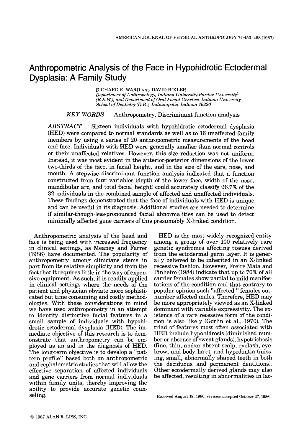 Anthropometric analysis of the face in hypohidrotic