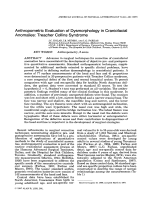 Anthropometric evaluation of dysmorphology in craniofacial anomalies  Treacher Collins syndrome.