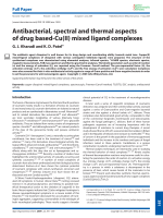 Antibacterial  spectral and thermal aspects of drug based-Cu(II) mixed ligand complexes.
