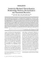 Antiserum-mediated demyelination  Relationship between remyelination and functional recovery.