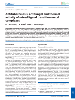 Antituberculosis  antifungal and thermal activity of mixed ligand transition metal complexes.