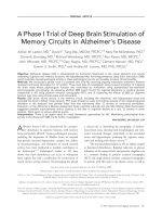 Aphase I trial of deep brain stimulation of memory circuits in Alzheimer's disease.