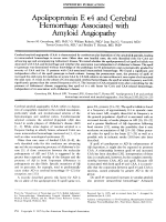 Apolipoprotein E 4 and cerebral hemorrhage associated with amyloid angiopathy.