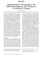 Apolipoprotein E genotyping in the differential diagnosis  not prediction  of Alzheimer's disease.