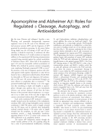 Apomorphine and Alzheimer A  Roles for regulated  cleavage  autophagy  and antioxidation.