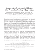Apomorphine treatment in Alzheimer mice promoting amyloid- degradation.
