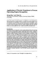 Application of Wavelet Transform to Process Operating Region Recognition.