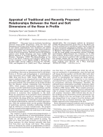 Appraisal of traditional and recently proposed relationships between the hard and soft dimensions of the nose in profile.