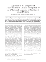 Approach to the diagnosis of neurotransmitter diseases exemplified by the differential diagnosis of childhood-onset dystonia.