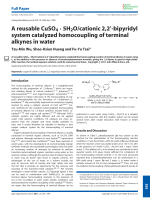 Areusable CuSO4 ╖ 5H2Ocationic 2 2-bipyridyl system catalyzed homocoupling of terminal alkynes in water.
