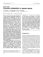 Arsenate metabolism in aquatic plants.