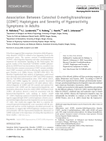 Association between Catechol O-methyltransferase (COMT) haplotypes and severity of hyperactivity symptoms in Adults.