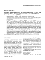 Association between hybrid status and reproductive success of captive male and female rhesus macaques (Macaca mulatta) at the California National Primate Research Center (CNPRC).
