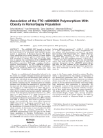 Association of the FTO rs9939609 polymorphism with obesity in RomaGypsy population.