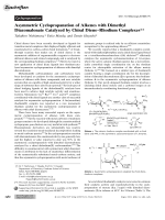 Asymmetric Cyclopropanation of Alkenes with Dimethyl Diazomalonate Catalyzed by Chiral DieneЦRhodium Complexes.
