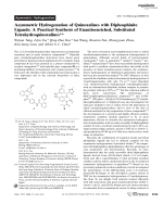 Asymmetric Hydrogenation of Quinoxalines with Diphosphinite Ligands  A Practical Synthesis of Enantioenriched  Substituted Tetrahydroquinoxalines.