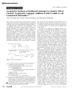 Asymmetric Synthesis of Isothiazoles through Cu Catalysis  Direct Catalytic Asymmetric Conjugate Addition of Allyl Cyanide to  -Unsaturated Thioamides.