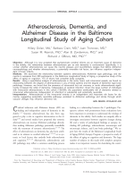 Atherosclerosis  dementia  and Alzheimer disease in the Baltimore Longitudinal Study of aging cohort.