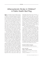Atherosclerotic stroke in children A public health red flag.