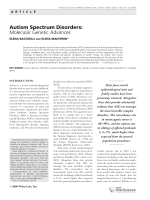 Autism spectrum disorders  Molecular genetic advances.