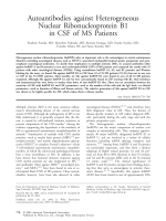 Autoantibodies against heterogeneous nuclear ribonucleoprotein B1 in CSF of MS patients.